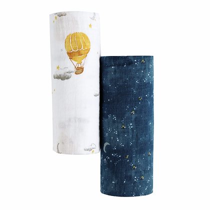 Malabar Baby Organic Swaddle Set - Fly me to the moon