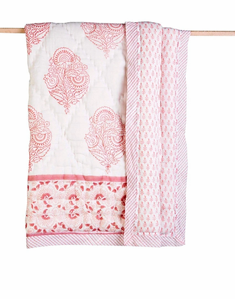 Malabar Baby Pink City Cotton Quilt - Natural