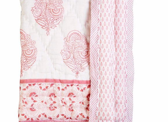 Pink City Cotton Quilt - Natural