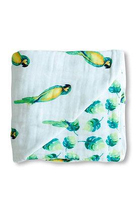Malabar Baby Muslin Snug Blanket (4 Layer) - Parrot Reversible
