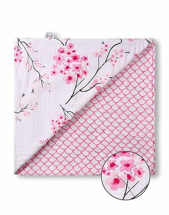 Malabar Baby Muslin Snug Blanket (4 Layer) - Cherry Blossom