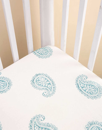 Malabar Baby Teal Paisley Fitted Crib Sheet - Handmade