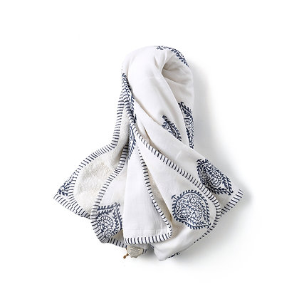 Malabar Baby Block Printed Hooded Towel - Fort