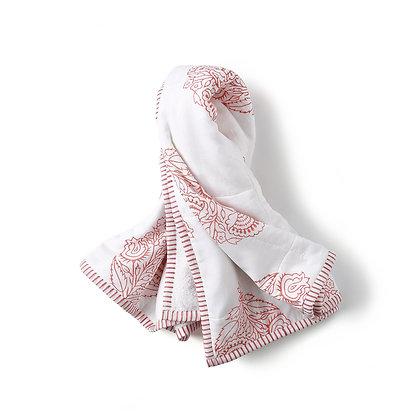 Malabar Baby Block Printed Hooded Towel - Pink City