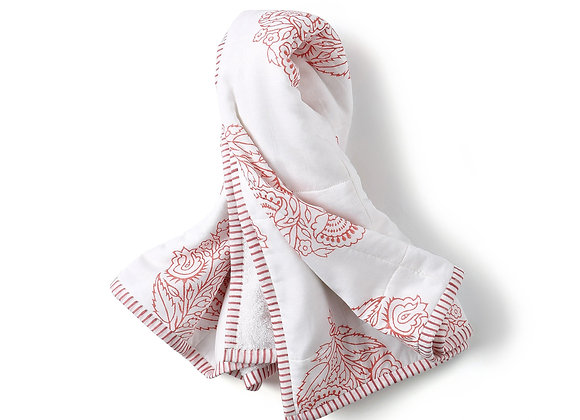 Block Printed Hooded Towel - Pink City