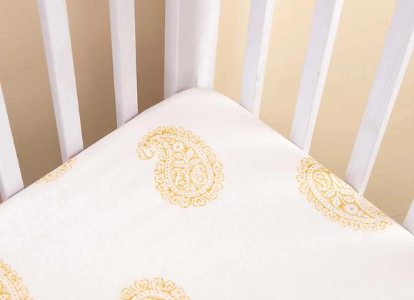 Mustard Paisley Fitted Crib Sheet - Handmade