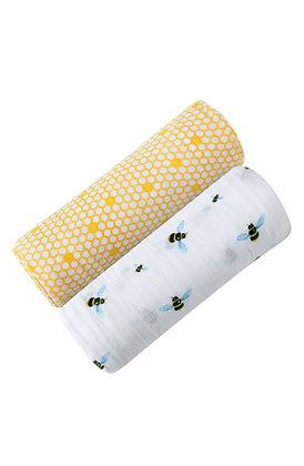 Malabar Baby Organic Swaddle Set - Busy Bees