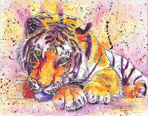 Orange and White Tiger with Purple Stripes