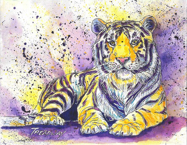 Golden Tiger with Purple Stripes