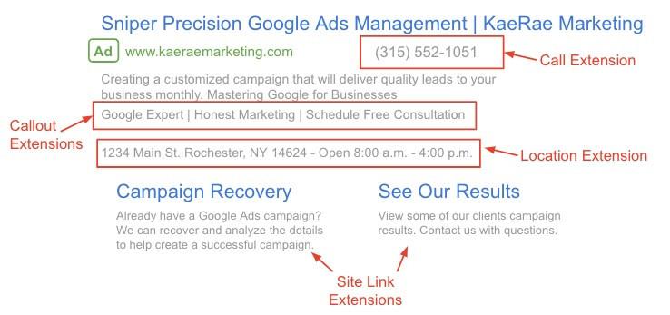 Google Ad - Ad Extensions - KaeRae Marketing