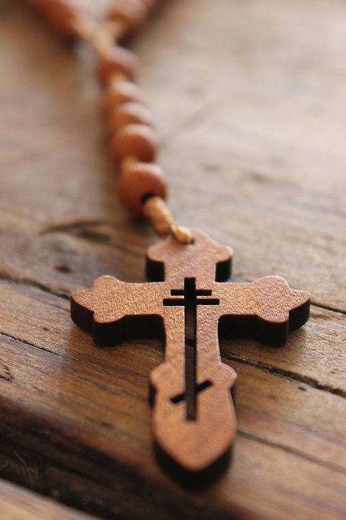 Rosary Beads Cross Wood Pendant