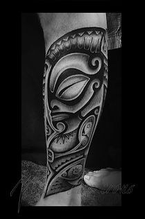Best Polynesian tiki tattoo by Manu Farrarons Los Angeles