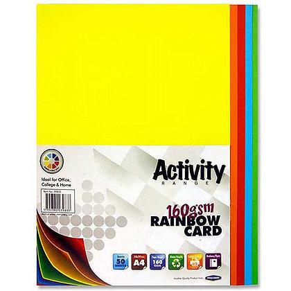 Activity A4 Coloured Card 160gsm 50pk