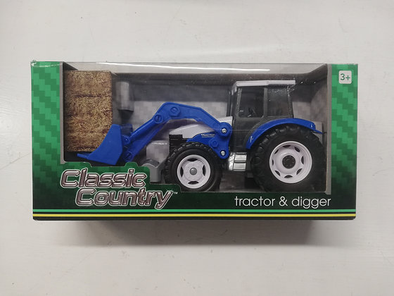 Classic Country Blue Tractor and Digger