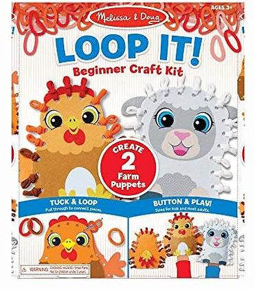 Melissa & Doug Loop It! Beginner Craft Kit Farm Puppets