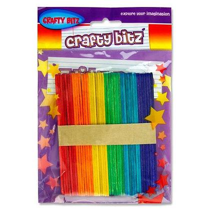 Lollipop Sticks Coloured 50pk