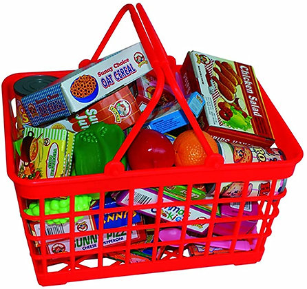 Supermarket Shopping Basket with Groceries and Cutlery