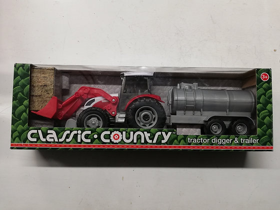 Classic Country Red Tractor with Trailer
