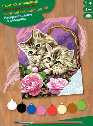 Floral Kittens - Paint By Numbers