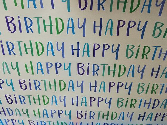 Gift Wrap Sheet - Blue Happy Birthday