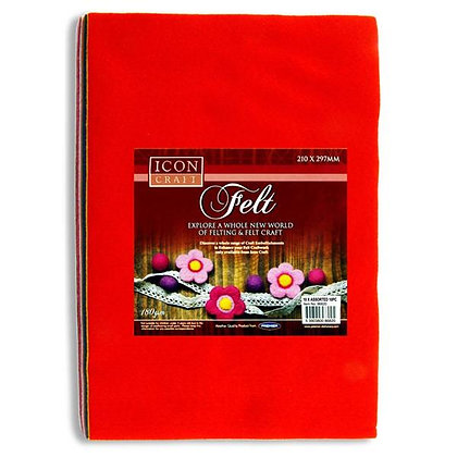 Icon Craft Felt Sheets Assorted Colours 10pk