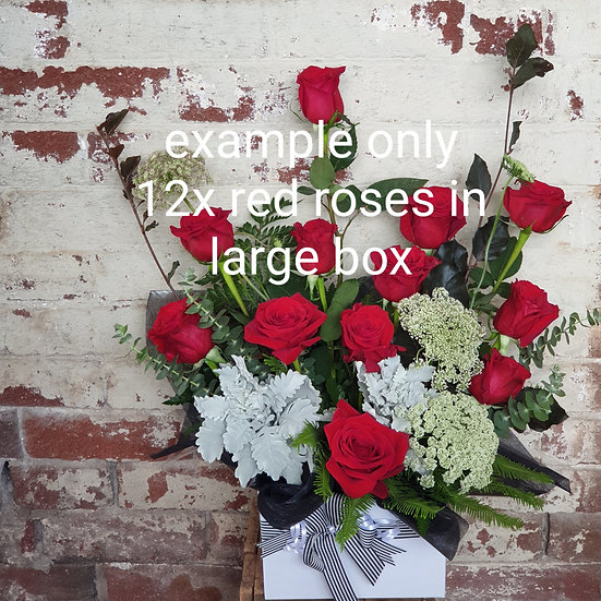 12x Red Roses in Large Box