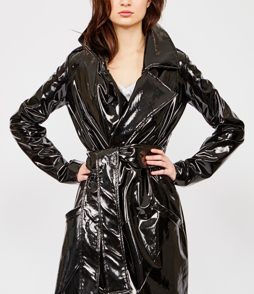 30b922031ad2 Vegan Patent Leather Trench Coat