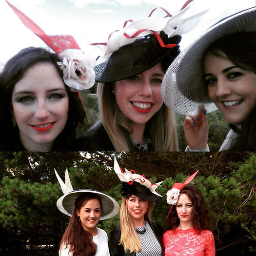 Models wearing Aileen Boylan Millinery hats