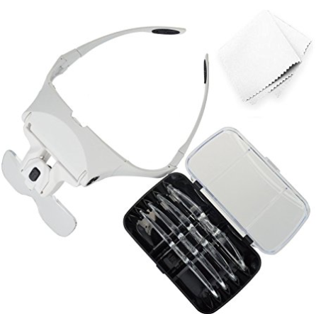 Magnifying Glass with Light, Headband Magnifier with LED Headlamp for Eyeashes