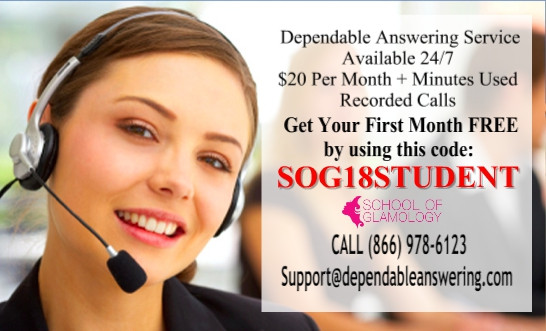 Coupon Code: SOG18STUDENT 1st month free answering service..