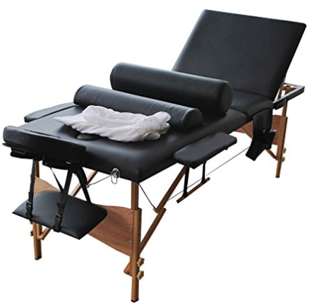 "84""l 3 Fold Massage Table Portable Facial Bed W/sheet+cradle Cover+2 Bolster"