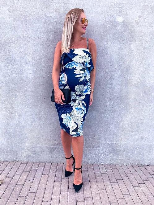 Sinine õlapaeltega valgete lilledega kleit