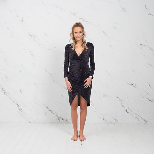 Must sädelev kleit pikkade varrukatega