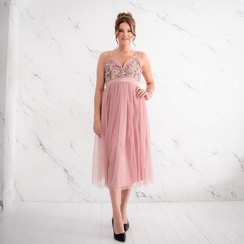 Heleroosa õlapaeltega kleit