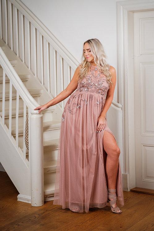 Heleroosa ülevalt litritega kleit