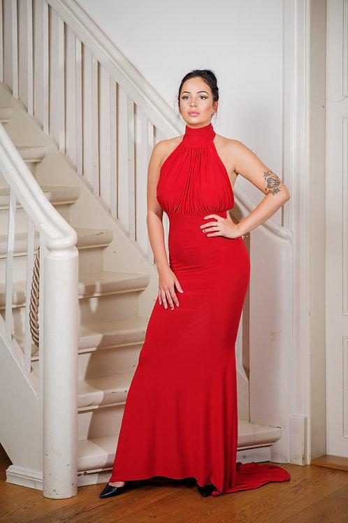 Punane maani liibuv kleit