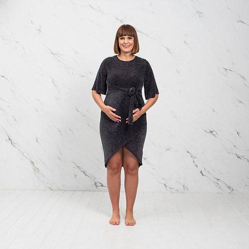 Must sädelev kleit lühikeste varrukatega