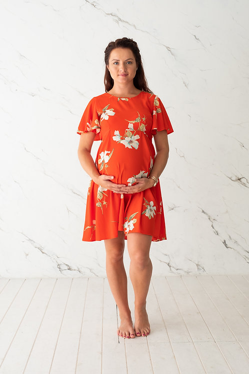 Punane lilleline kleit