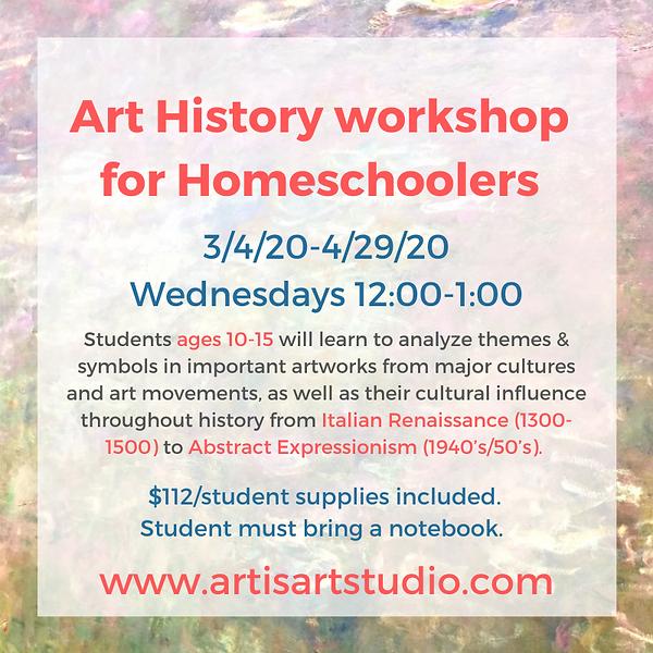 Art History workshop for Homeschoolers .