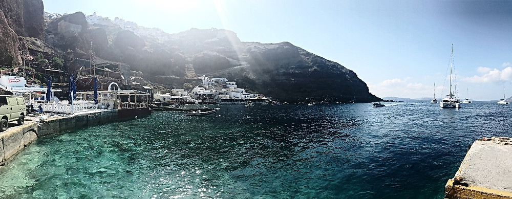 Waiting on the dock for our boat to arrive before taking off from Oia.