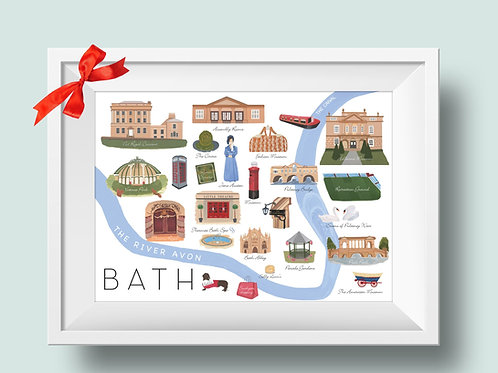 Illustrated city of Bath map