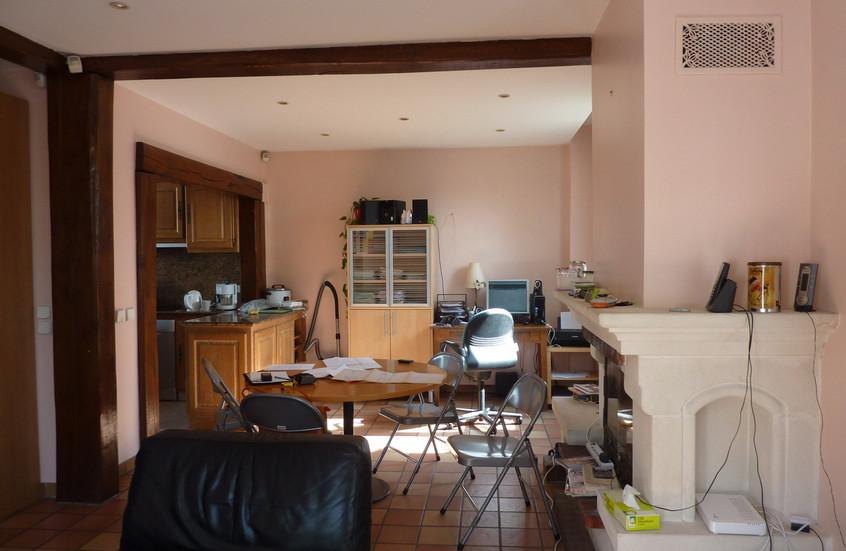 Cuisine et salon avant travaux