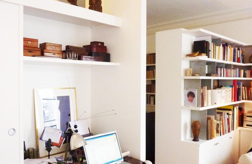 Division des espaces avec du mobilier sur mesure