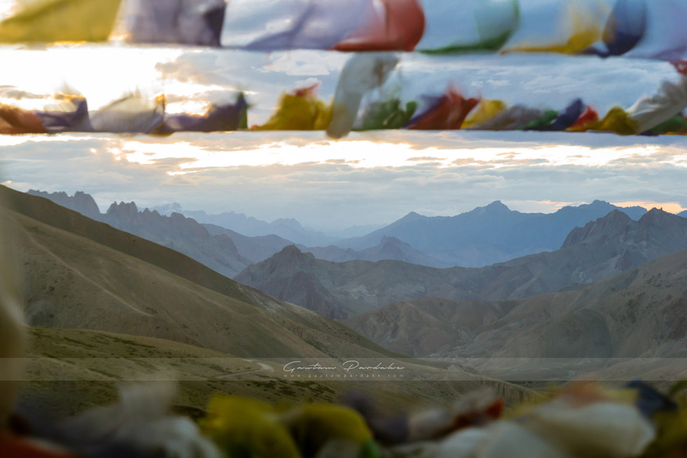Beautiful landscape image showing layers of Himalayan mountains at Ladakh in North India