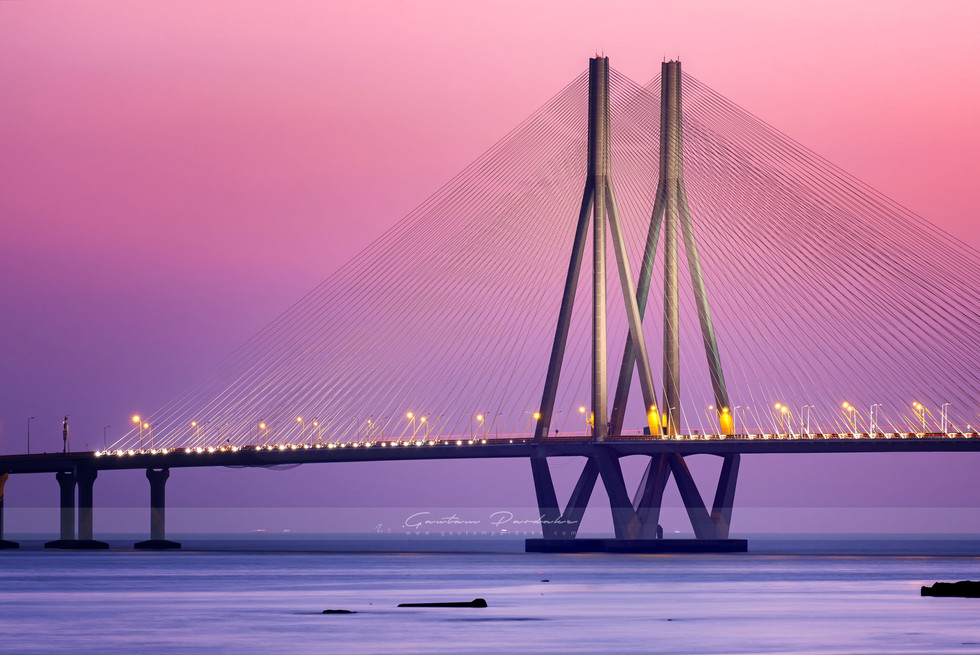 Beautiful landscape photo with sunset colours of the Bandra worli Sealink in Mumbai [Bombay]
