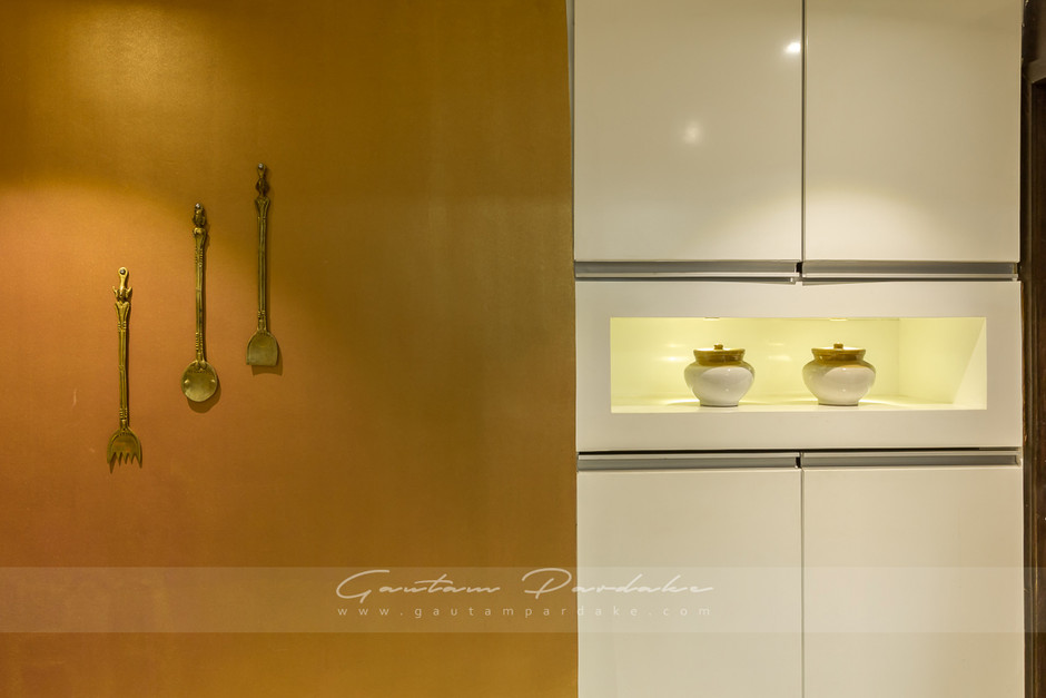 Interior photo of an artistic wall in a kitchen inThane, Mumbai
