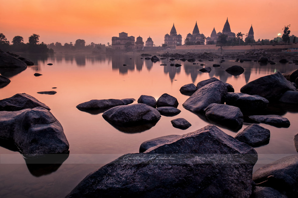 Beautiful landscape photo with colours of ancient Indian temple complex in Central India