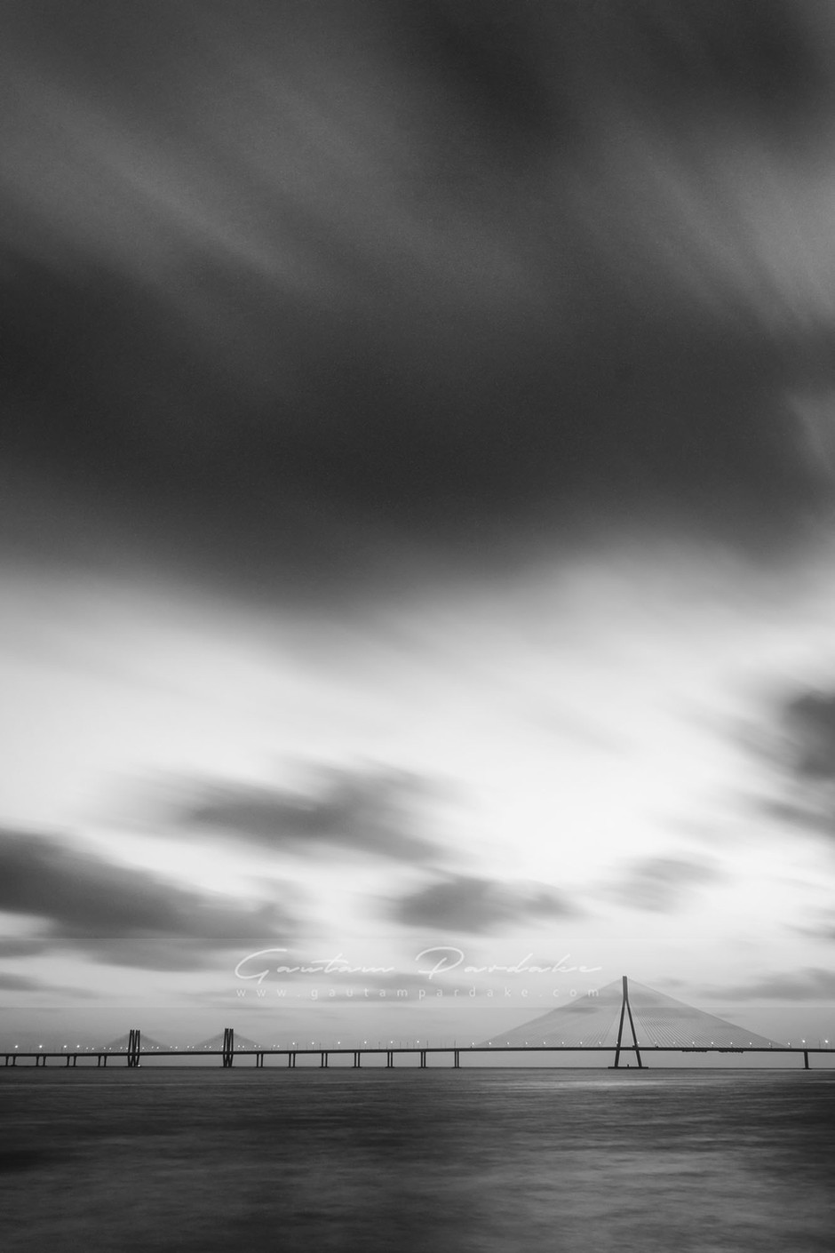 Artistic black and white landscape photo of the Bandra worli Sealink in Mumbai