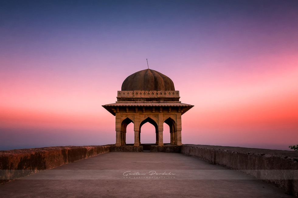 Beautiful architecture landscape photo with colours of an ancient Indian structure in Central India