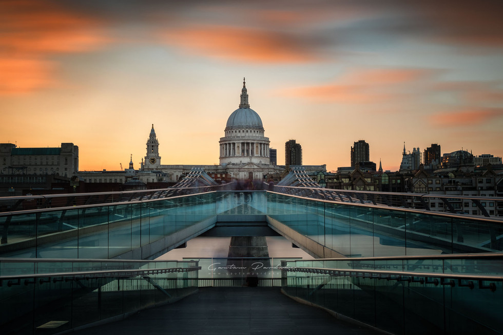 Artistic landscape photo with sunset colours of St Pauls Cathedral in London